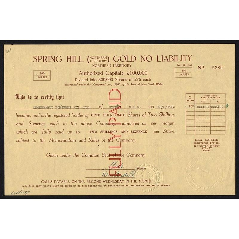 Spring Hill (Northern Territory) Gold No Liability, Northern Territory Stock Certificate