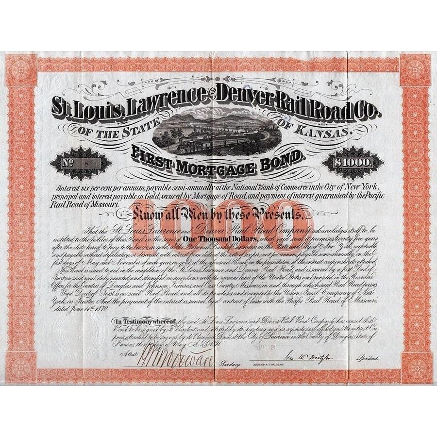 St. Louis, Lawrence and Denver Rail Road Co. of the State of Kansas Stock Certificate