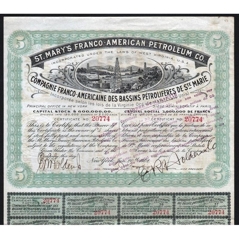St. Mary's Franco-American Petroleum Co. Stock Certificate