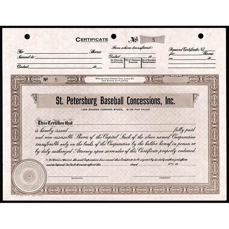 St. Petersburg Baseball Concessions, Inc. Stock Certificate