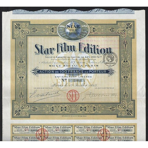 Star Film Edition Societe Anonyme Stock Certificate