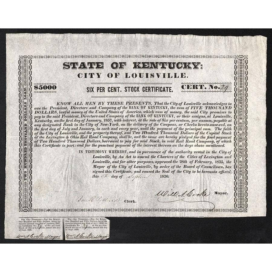 State of Kentucky, City of Louisville (W.A. Cocke signature) Stock Certificate