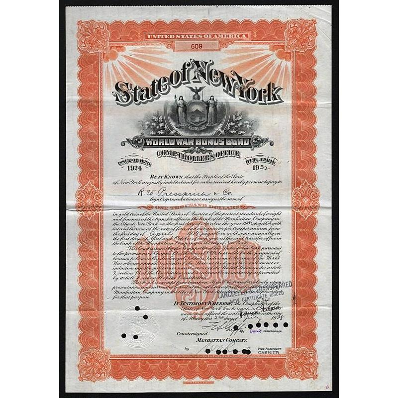 State of New York, $1000 World War Bonus Bond Stock Certificate