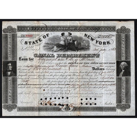State of New York, Canal Department Stock Certificate
