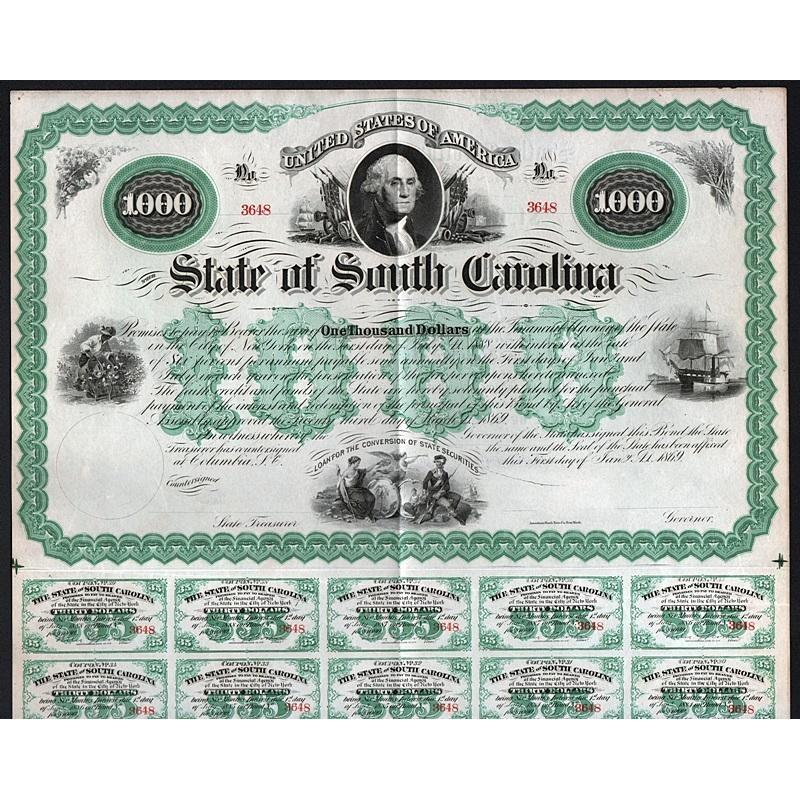 State of South Carolina, Six Per Cent Bond (unissued) Stock Certificate