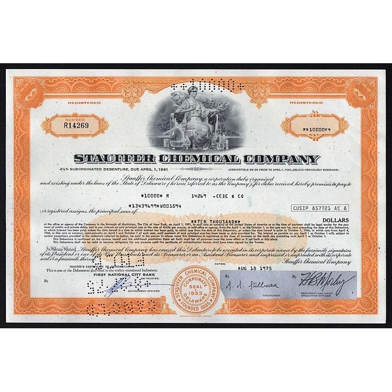 Stauffer Chemical Company Stock Certificate