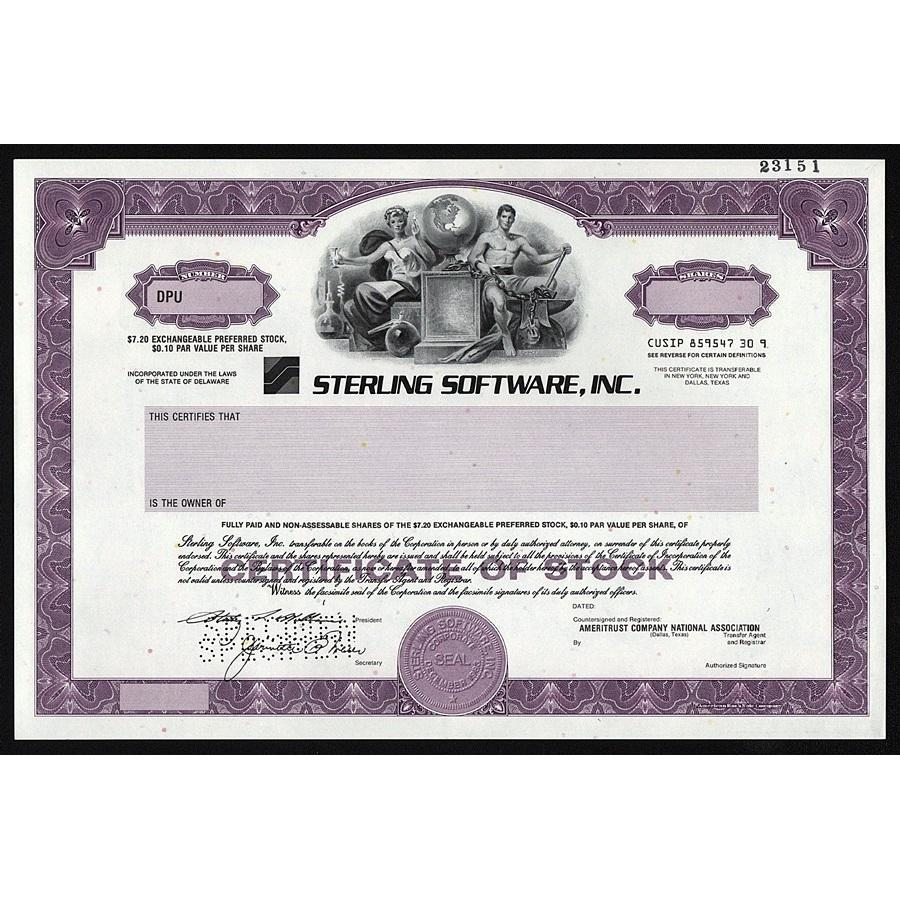 Sterling Software, Inc. (Specimen) Stock Certificate