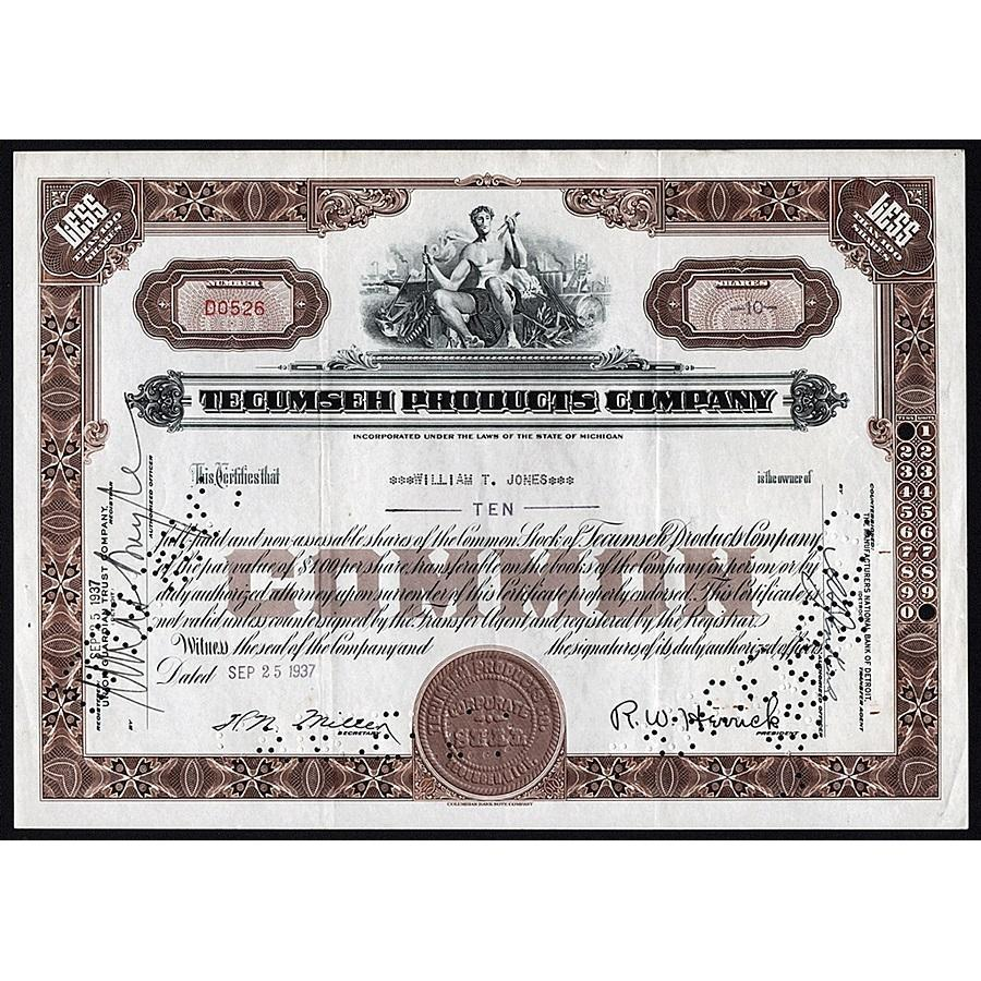 Tecumseh Products Company Stock Certificate