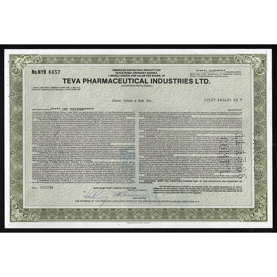 Teva Pharmaceutical Industries Ltd. Stock Certificate