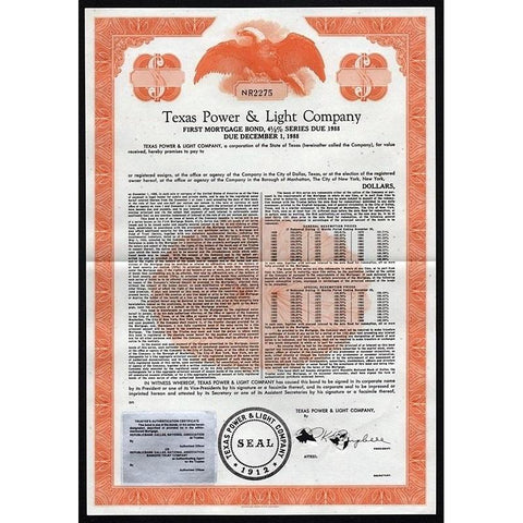 Texas Power & Light Company Stock Certificate