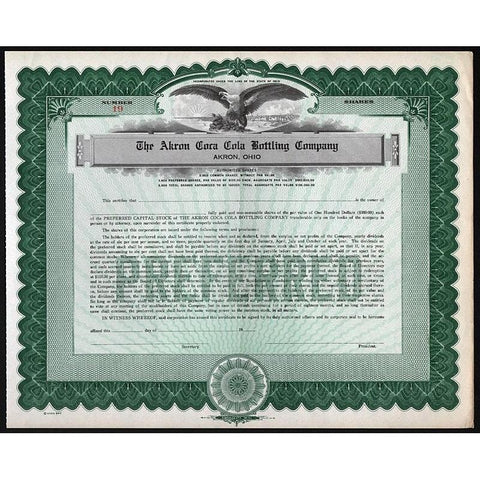 The Akron Coca Cola Bottling Company Stock Certificate