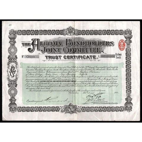 The Algoma Bondholders Joint Committee of the Algoma Central and Hudson Bay Railway Company Stock Certificate