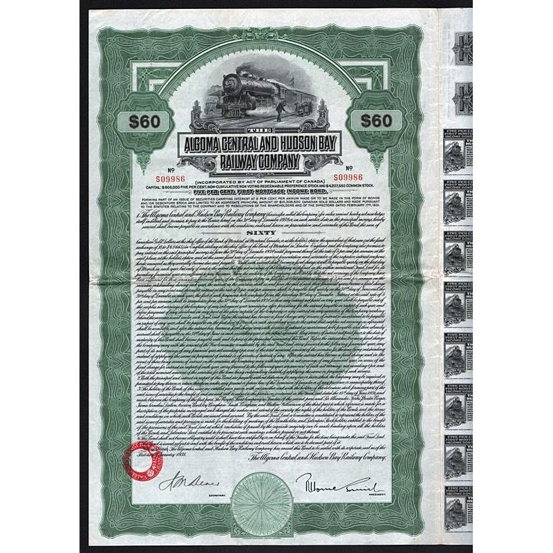 The Algoma Central and Hudson Bay Railway Company Stock Certificate