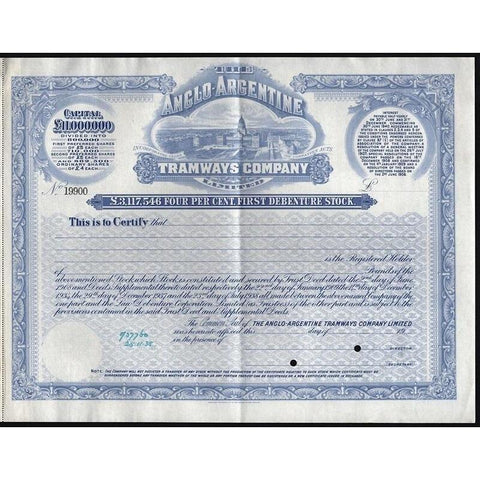 The Anglo-Argentine Tramways Company (Specimen) Stock Certificate