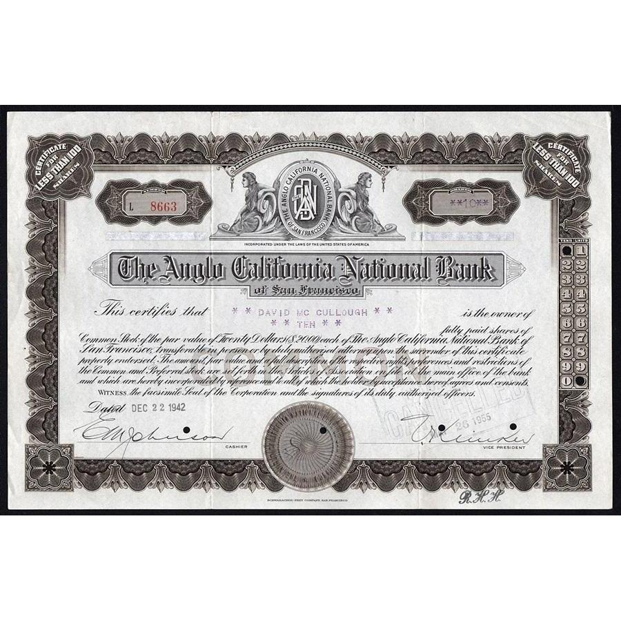 The Anglo California Bank of San Francisco Stock Certificate