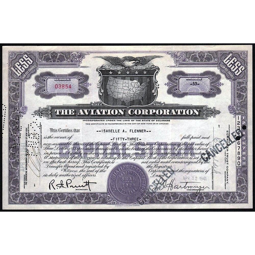 The Aviation Corporation Stock Certificate