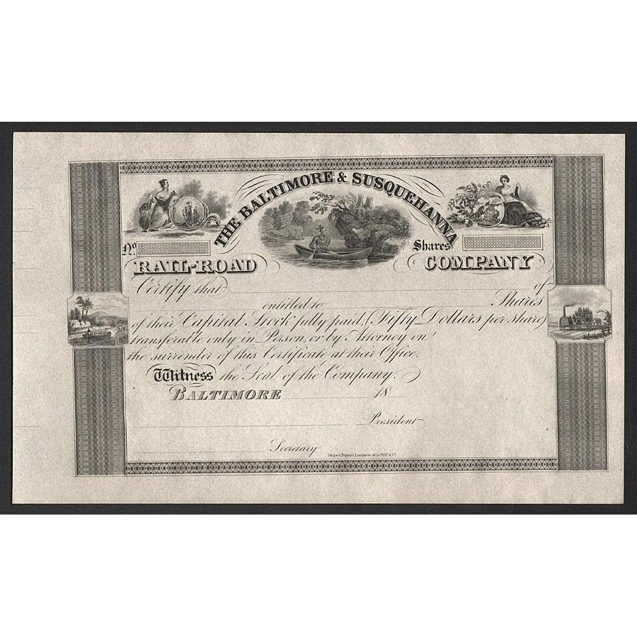 The Baltimore & Susquehanna Railroad Company Stock Certificate