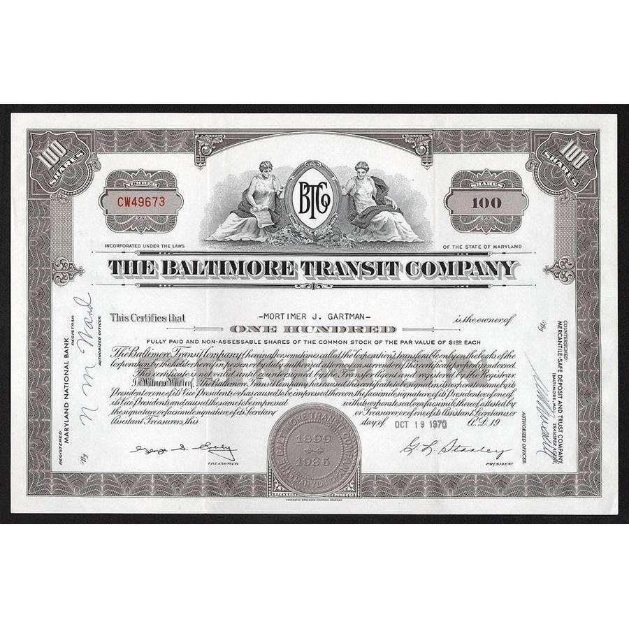 The Baltimore Transit Company Stock Certificate