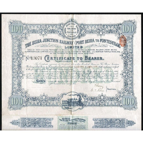 The Beira Junction Railway (Port Beira to Fontesville) Limited Stock Certificate