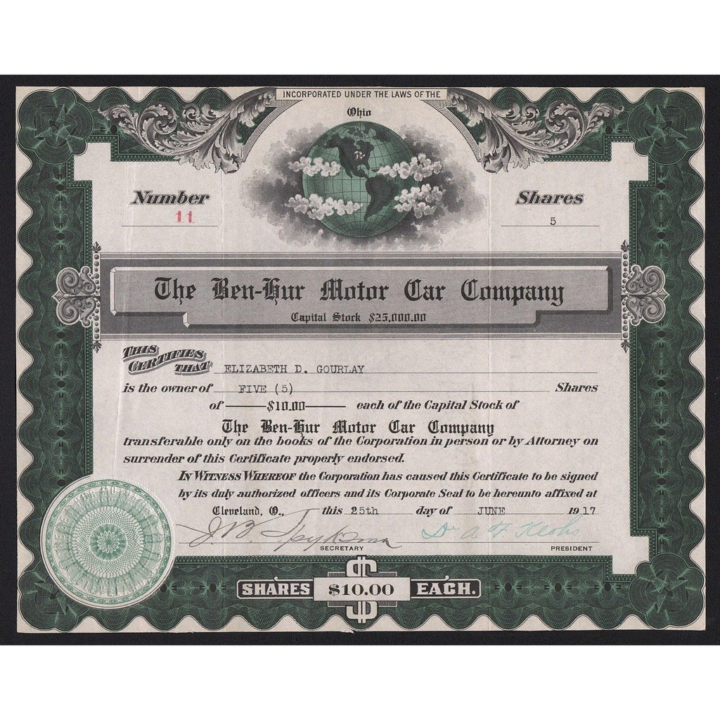 The Ben-Hur Motor Car Company Stock Certificate