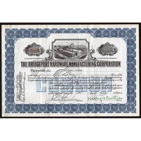 The Bridgeport Hardware Manufacturing Corporation Stock Certificate