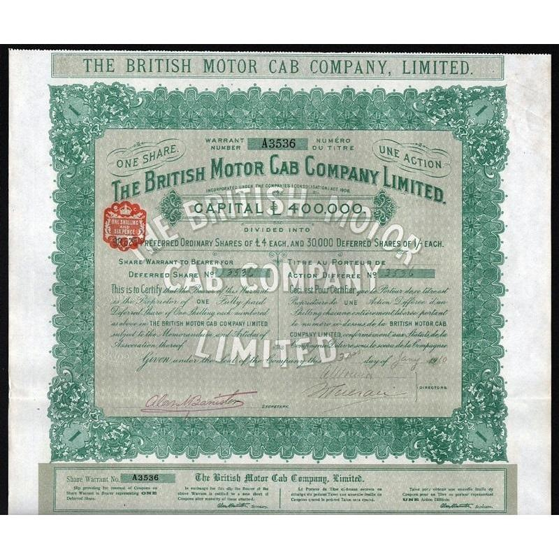 The British Motor Cab Company, Limited Stock Certificate