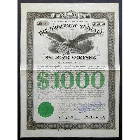 The Broadway Surface Railroad Company Stock Certificate
