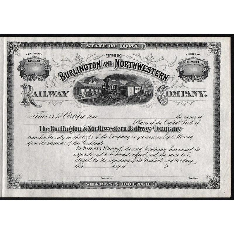 The Burlington and Northwestern Railway Company Stock Certificate