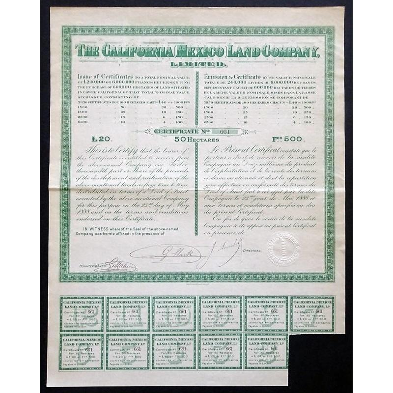 The California (Mexico) Land Company, Limited Stock Certificate