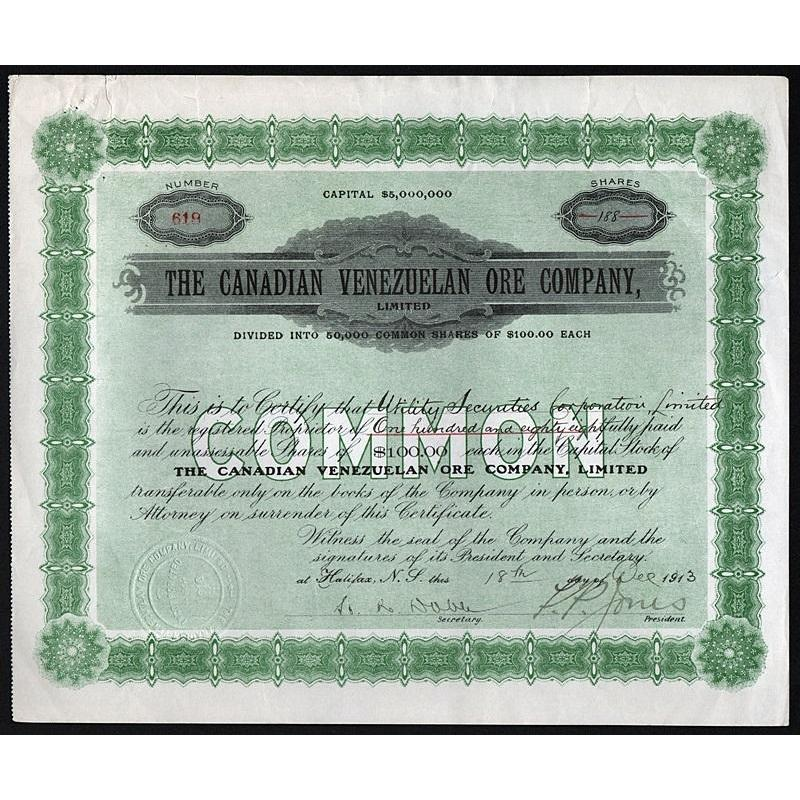 The Canadian Venezuelan Ore Company, Limited Stock Certificate