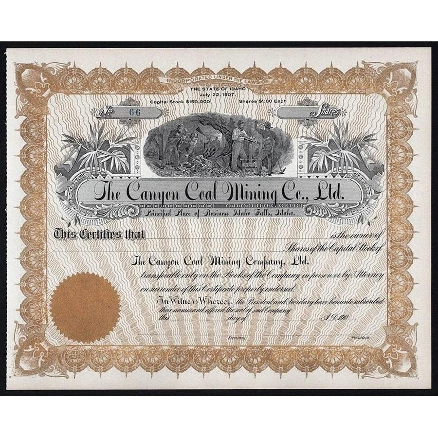 The Canyon Coal Mining Company, Ltd. Stock Certificate