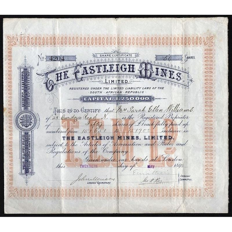 The Castleigh Mines, Limited Stock Certificate