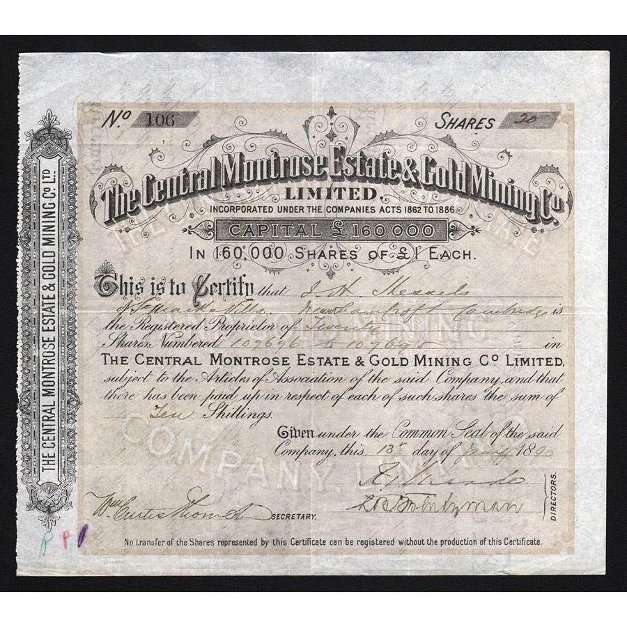 The Central Montrose Estate & Gold Mining Co. Limited Stock Certificate