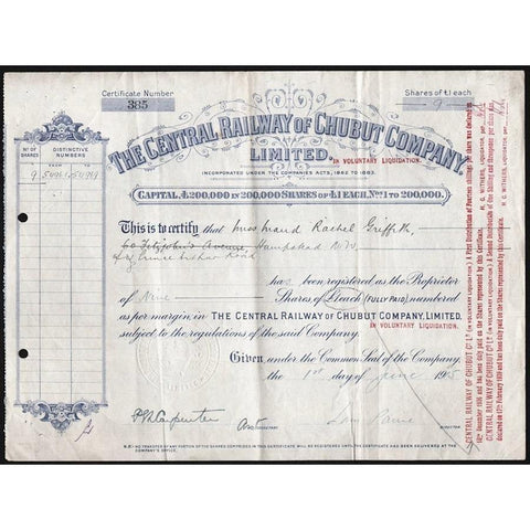 The Central Railway of Chubut Company, Limited Stock Certificate