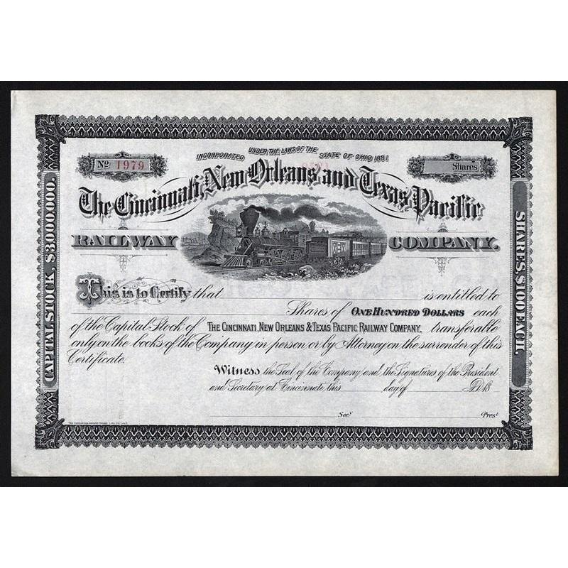 The Cincinnati, New Orleans and Texas Pacific Railway Company Stock Certificate