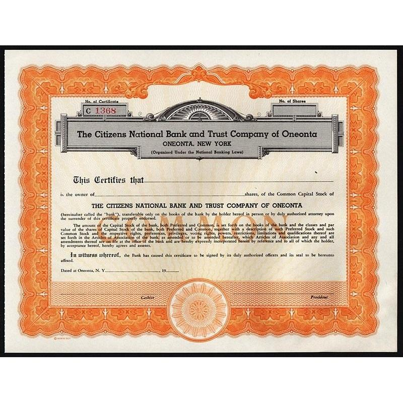 The Citizens National Bank and Trust Company of Oneonta Stock Certificate