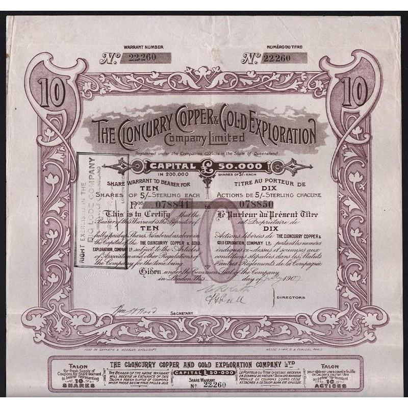 The Cloncurry Copper & Gold Exploration Company Limited Stock Certificate