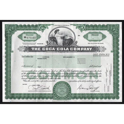 The Coca-Cola Company Stock Certificate