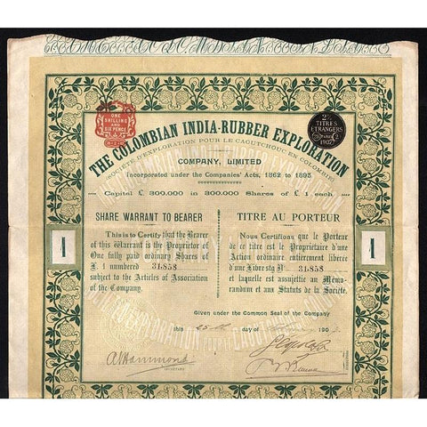 The Colombian India-Rubber Exploration Company, Limited Stock Certificate