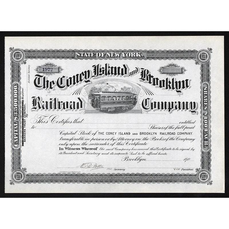 The Coney Island and Brooklyn Railroad Company Stock Certificate