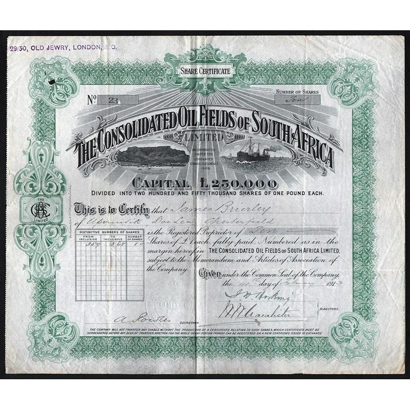 The Consolicated Oil Fields of South Africa Stock Certificate