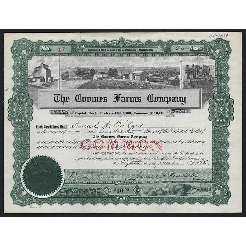 The Coomes Farms Company Stock Certificate