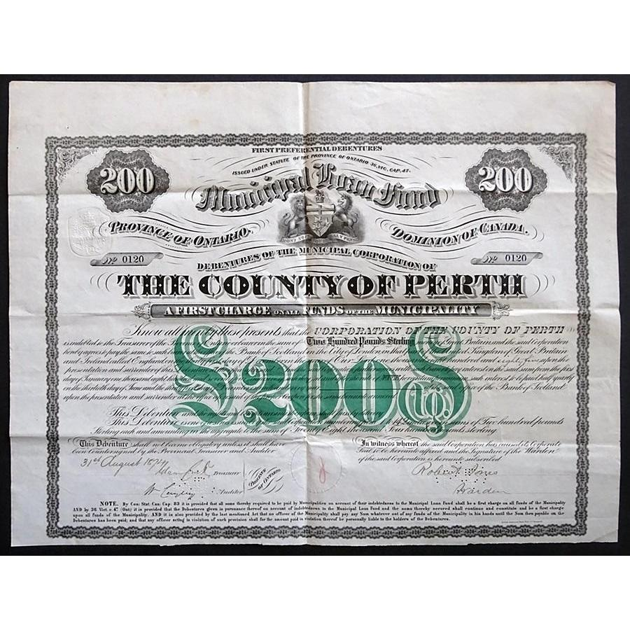 The County of Perth, £200 Debenture Stock Certificate