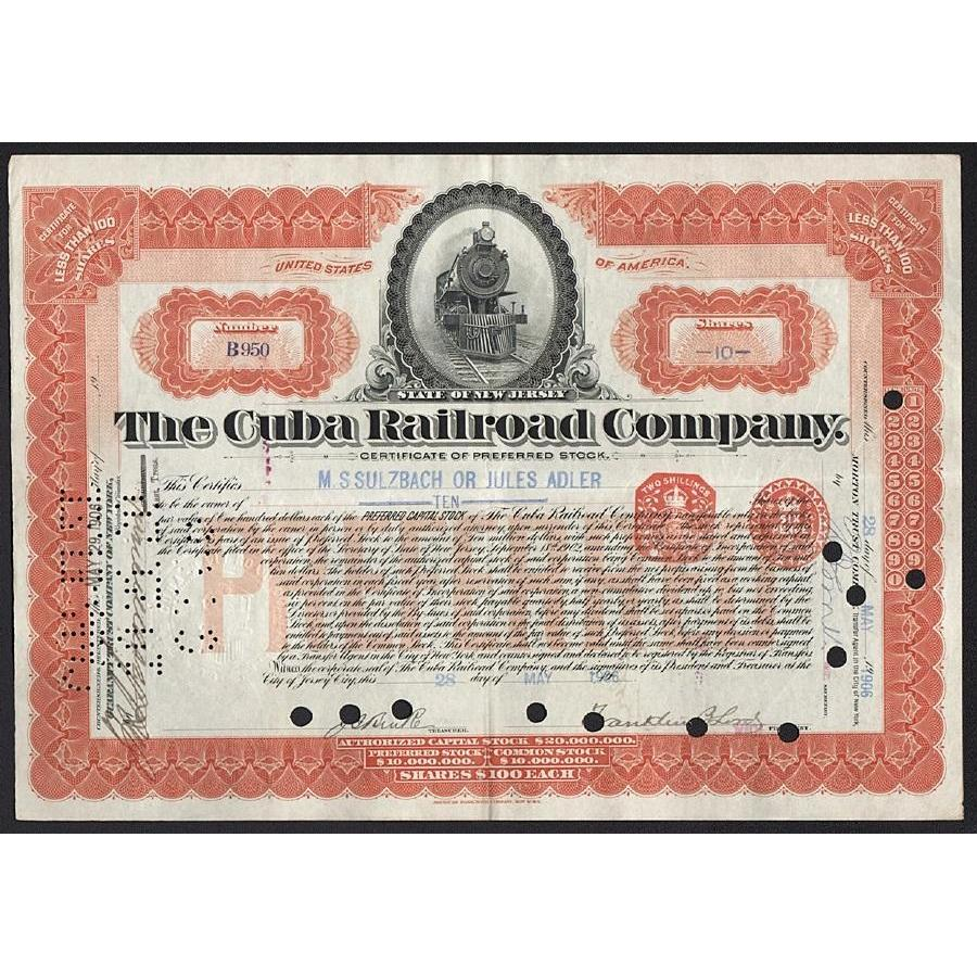 The Cuba Railroad Company Stock Certificate