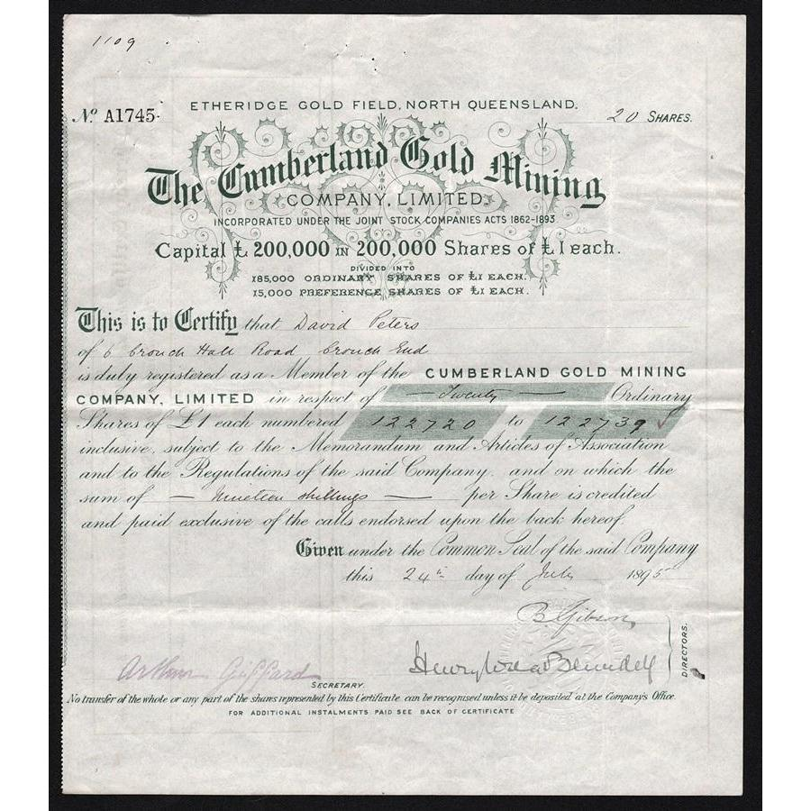 The Cumberland Gold Mining Company, Limited (Etheridge Gold Field, North Queensland) Stock Certificate