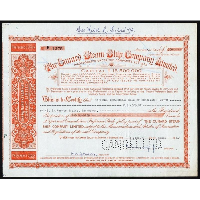 The Cunard Steam-Ship Company Limited Stock Certificate