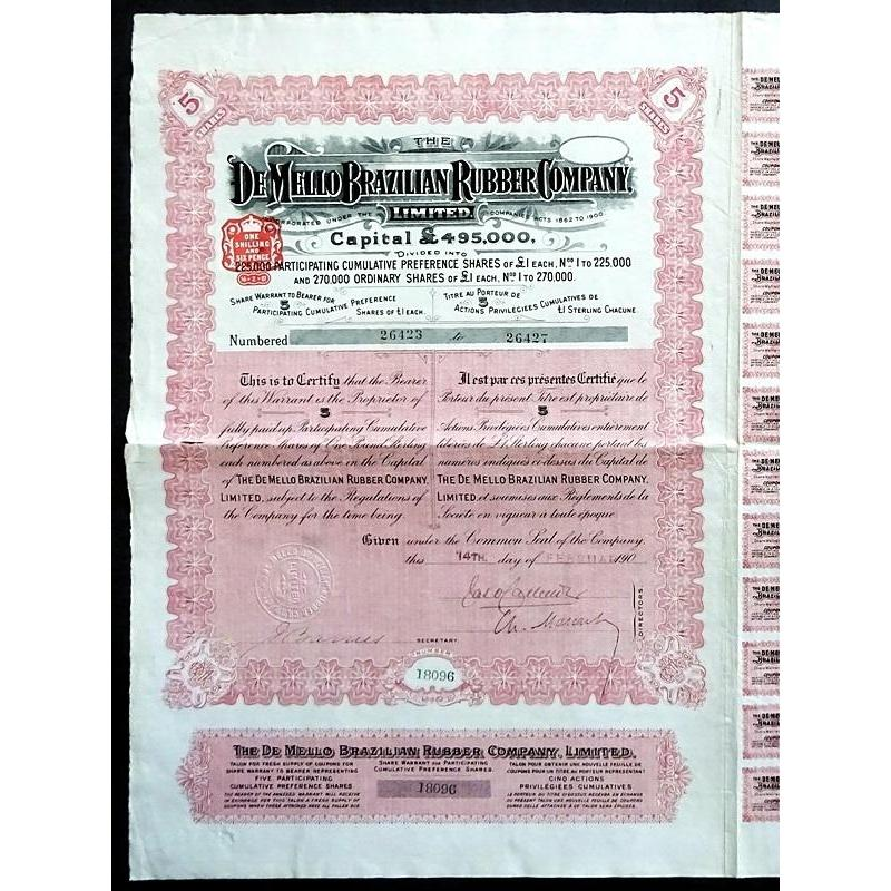 The De Mello Brazilian Rubber Company, Limited Stock Certificate