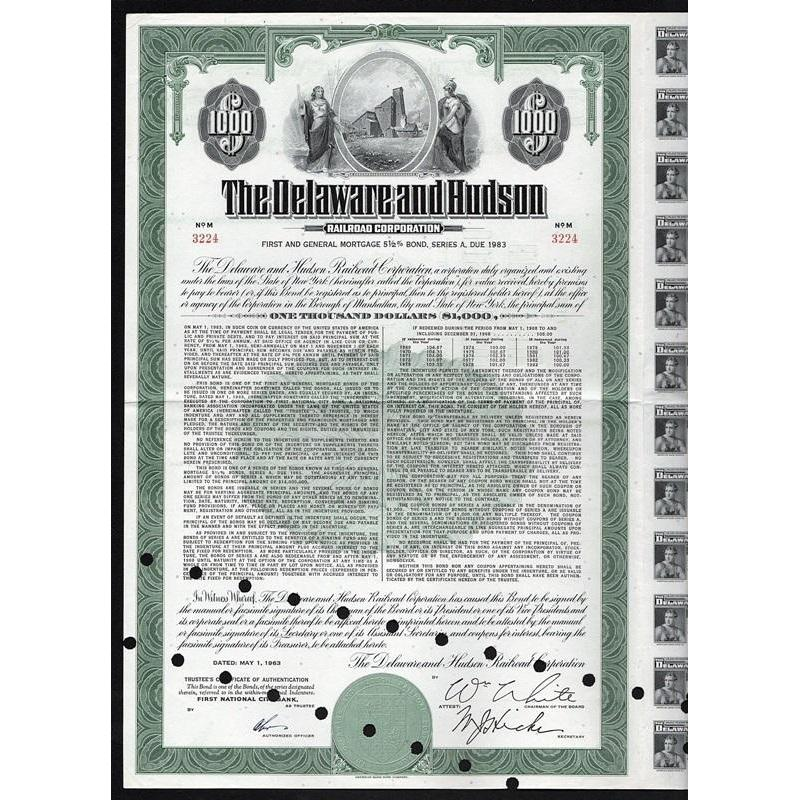 The Delaware and Hudson Railroad Corporation Stock Certificate