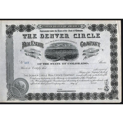 The Denver Circle Real Estate Company Stock Certificate
