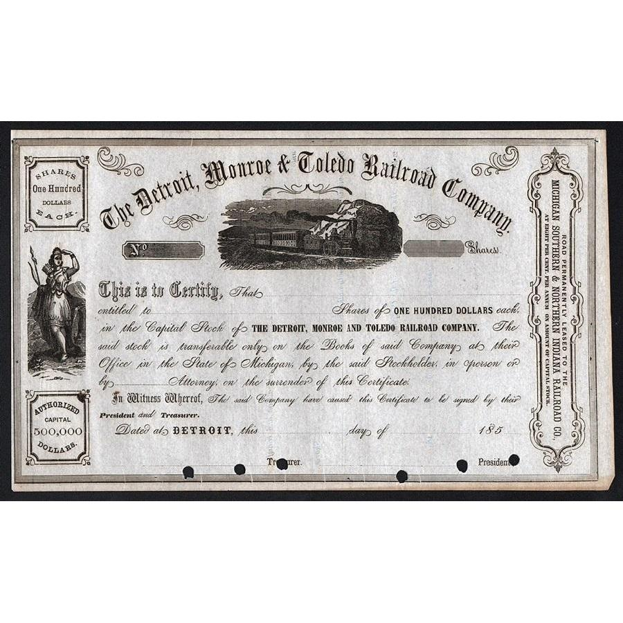 The Detroit, Monroe & Toledo Railroad Company Stock Certificate